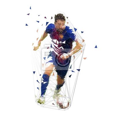 Piłkarz w ciemny niebieski jersey działa z piłką, streszczenie wektor low poly rysunek. Działający piłkarz. Na białym tle geometrycznej ilustracja kolorowy, widok z przodu