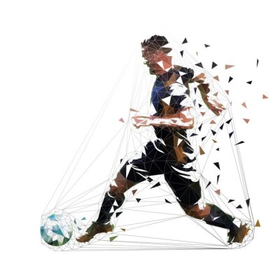 Piłkarz w czarna koszulka działa z piłką, streszczenie wektor low poly rysunek. Piłkarz kopie piłkę. Na białym tle geometrycznej ilustracja kolorowy, widok z boku