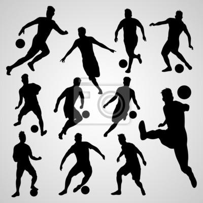Piłkarze czarne sylwetki