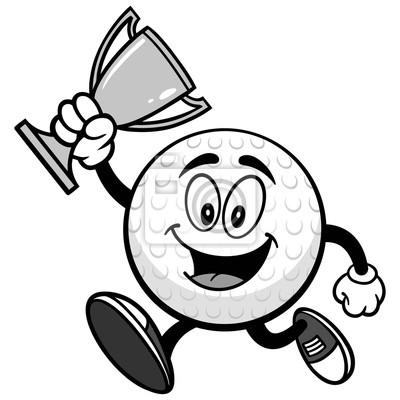 Piłki golfowej bieg z trofeum ilustracją