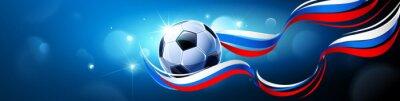 Piłki nożnej piłka z flaga Rosja na Błękitnym tle. Ilustracji wektorowych