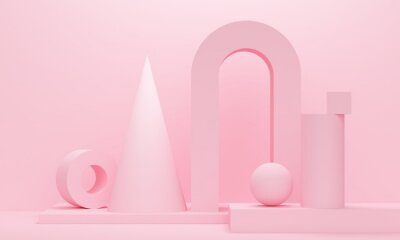Pink abstract background with cone, sphere and arch. Backdrop design for product promotion. 3d rendering