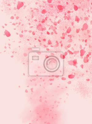 Naklejka Pink colored Rose leaves flowing in shaped of storm background illustration