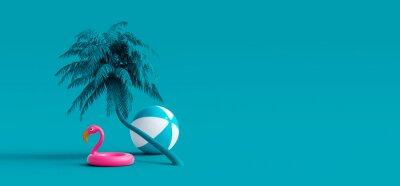 Naklejka Pink flamingo and palm tree on blue summer background 3D Rendering, 3D Illustration