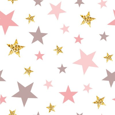 Naklejka Pink seamless pattern gold glitter stars pink for Christmas backgound or baby shower sweet girl design