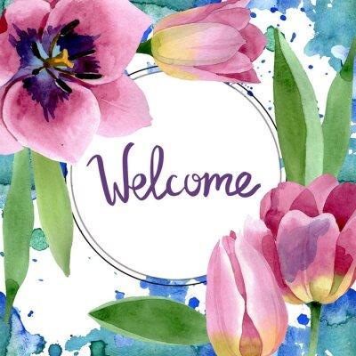 Naklejka Pink tulips floral botanical flowers. Watercolor background illustration set. Frame border ornament square.