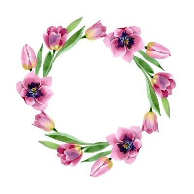 Pink tulips floral botanical flowers. Watercolor background illustration set. Frame border ornament square.