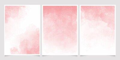 Naklejka pink watercolor wet wash splash 5x7 invitation card background template collection