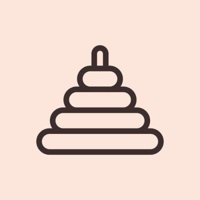 Piramida zabawka minimalistyczna płaska linia koło solidny obrys ikona piktogram symbol