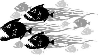 Naklejka Piranha Feeding Frenzy