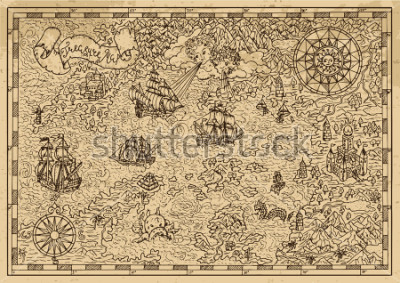 Naklejka Pirate Map with old sailing ships, fantasy creatures, treasure islands. Pirate adventures, treasure hunt and old transportation concept. Hand drawn vector illustration, vintage background