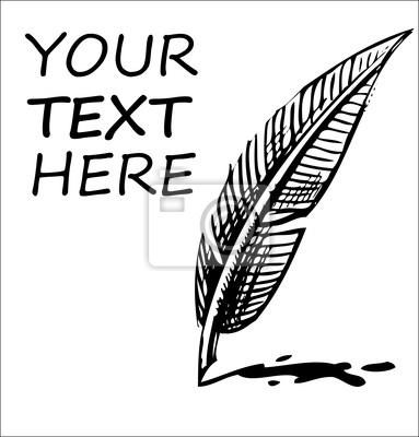 Pisanie piórem z blot atramentu i przykładowy tekst