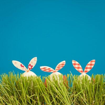 Naklejka Pisanki na zielonej trawie