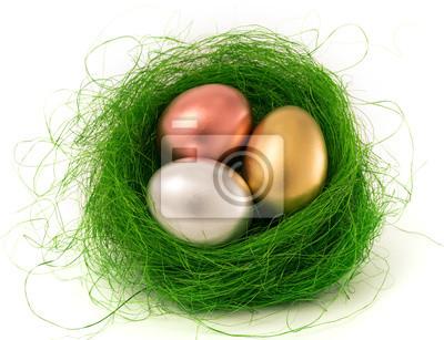 Pisanki w zielonym gnieździe