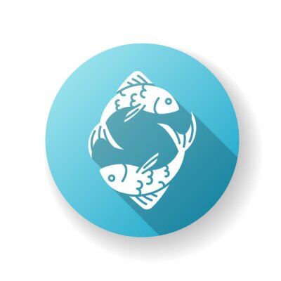 Pisces zodiac sign blue flat design long shadow glyph icon. Horoscope fish. Astrological birth sign. Sea life, traditional marine wildlife. Two swimming fishes silhouette RGB color illustration