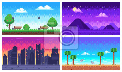 Naklejka Pixel art landscape. Summer ocean beach, 8 bit city park, pixel cityscape and highlands landscapes arcade game vector background