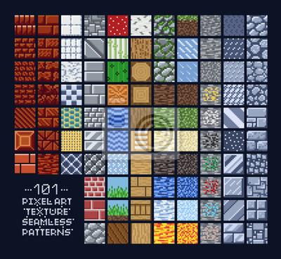 Naklejka Pixel art style set of different 16x16 texture pattern sprites - stone, wood, brick, dirt, metal - 8 bit game design background tiles