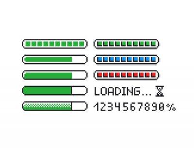 Naklejka Pixel art vector illustration set - 8 bit retro style loading indicator bars, percent numbers, loading text