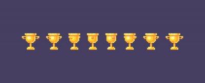 Naklejka Pixel art winner cups symbol animation.