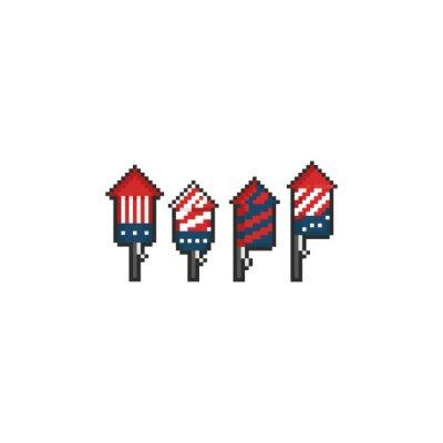 Naklejka Pixel rocket firework set.8bit.United state Independence day.