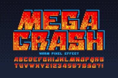 Naklejka Pixel vector alphabet design, stylized like in 8-bit games.