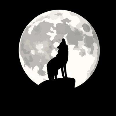 Naklejka Plac ilustracja wilk wyjący na Księżyc.
