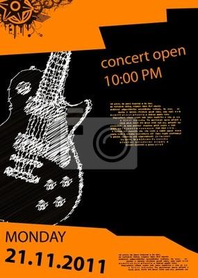 plakat muzyka wektor z gitarą