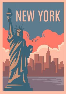 Naklejka Plakat retro w Nowym Jorku.
