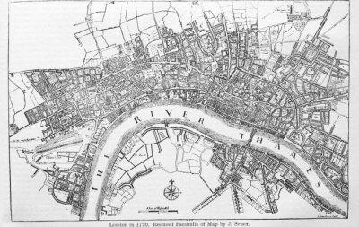 Naklejka Plan of London in 1720 in the old book The Encyclopaedia Britannica, vol. 14, by C. Blake, 1882, Edinburgh