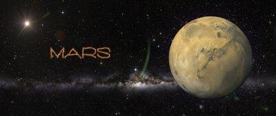 Naklejka Planeta Mars w przestrzeni kosmicznej.