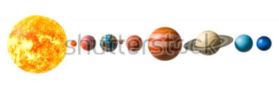 Naklejka Planets of the solar system, 3D rendering isolated on white background, Elements of this image furnished by NASA