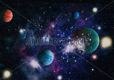 Naklejka planets, stars and galaxies in outer space showing the beauty of space exploration. Elements furnished by NASA