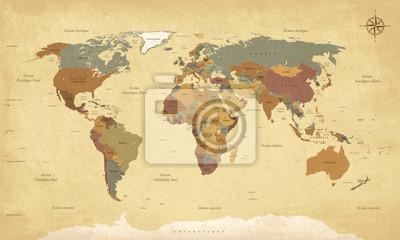 Naklejka Planisphère Mappemonde vintage - Textes en français. vecteur