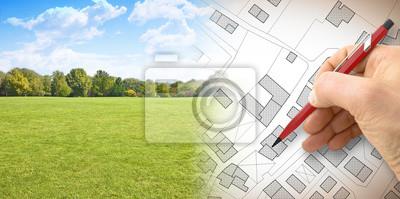 Naklejka Planowanie nowego miasta - obraz koncepcyjny z ręcznie rysowaną wyimaginowaną mapą terytorium z budynkami, polami i drogami na tle zieleni