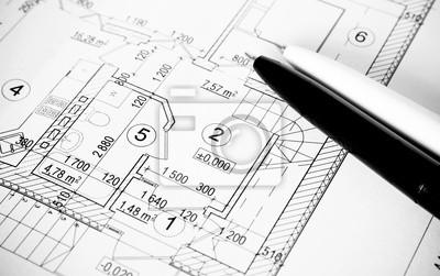 Plany budowy, długopis, formalności
