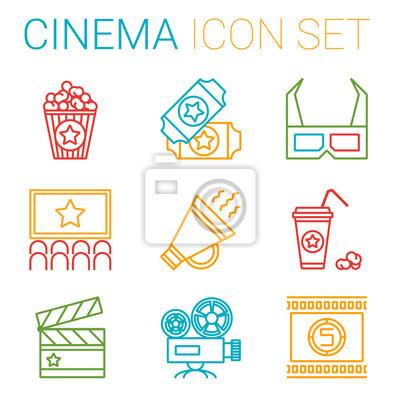 Płaska linia ikon zestaw profesjonalnych produkcji filmowej, filmu