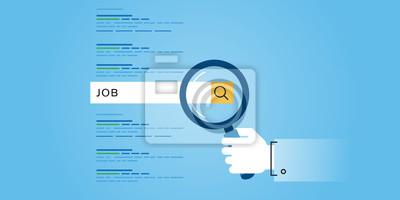 Płaska linia projektowanie stron internetowych sztandar poszukiwania pracy, kariera, możliwości zatrudnienia, rozwoju zasobów ludzkich. Nowoczesne ilustracji wektorowych do projektowania stron interne