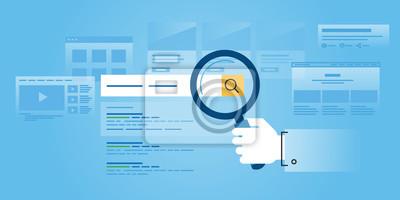 Płaska linia projektowanie stron internetowych sztandar wyszukiwania w internecie, pozycjonowanie, strony ranking, ranking. Nowoczesne ilustracji wektorowych do projektowania stron internetowych, mark