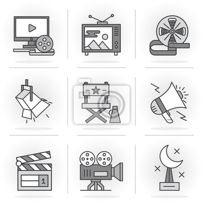 Płaską linię Ikony Set.Online Filmy, postprodukcji filmowej i telewizyjnej, Collection.Isolated Przedmioty w nowoczesnym stylu dla swojego projektu.