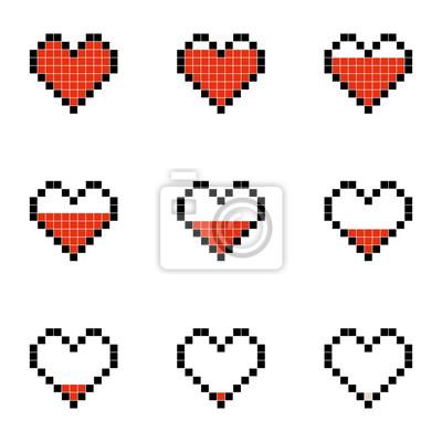 Naklejka Płaska prosta ilustracja set minimalistic piksla sztuki wektorowi przedmioty odizolowywający na białym tle. Kolorowe ikony w stylu 8-bitowym. Kolorowa kolekcja symboli graficznych pikseli. Grafika wek