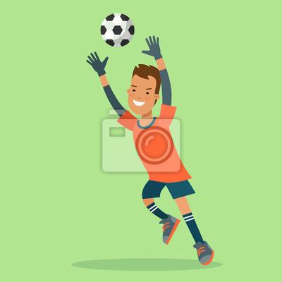 Płaski futbolowy piłka nożna bramkarza celu skoku wektoru charakter
