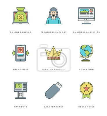 Płaski prosty zestaw ikon. Cienkie liniowe suwaki Ikony podstawowe Konieczna koncepcja obiektów.