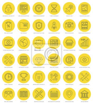 Płaski zestaw linii prostych ikon. Cienkie liniowe Essentials skok obiektów wektorowych symboli.