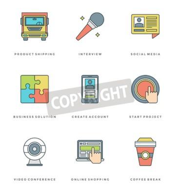 Płaski zestaw linii prostych ikon. Cienkie liniowe Essentials skok obiektów wektorowych symboli. Dla grafiki www, aplikacje mobilne, Infografiki projektowe, broszury, banery, nagłówki. Zarys piktogram