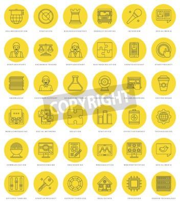 Płaski zestaw linii prostych ikon. Cienkie liniowe udar wektorowe ikony Essentials obiektów koncepcji. Dla grafiki www, aplikacje mobilne, Infografiki projektowe, broszury, banery, nagłówki. Zarys pik