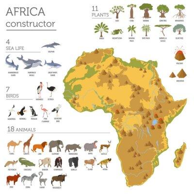 Naklejka Płaskie flory i fauny Afryki mapa elementy konstruktora. Zwierzęta, b