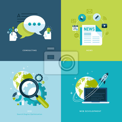 Płaskie ikony dla doradztwa, wiadomości, pozycjonowanie, tworzenie stron internetowych.