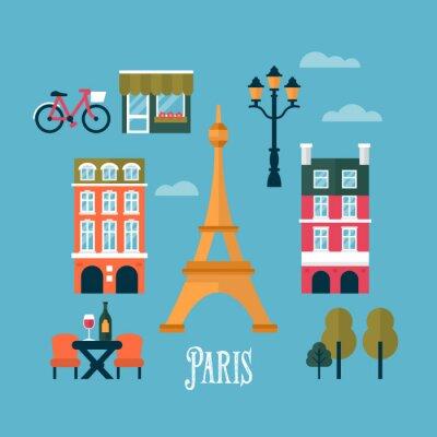 Naklejka Płaskie stylowe ikony Paryżu, Francja. Podróże i turystyka infogra