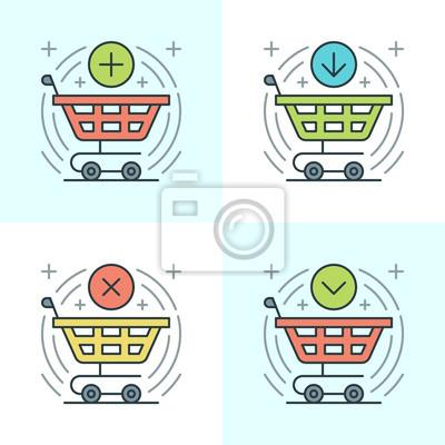Płaskie ustawić ikony linii. Cienki liniowe ikony udar wektor zakupy Wózek, o zakupie, Kupię przycisku, E-commerce