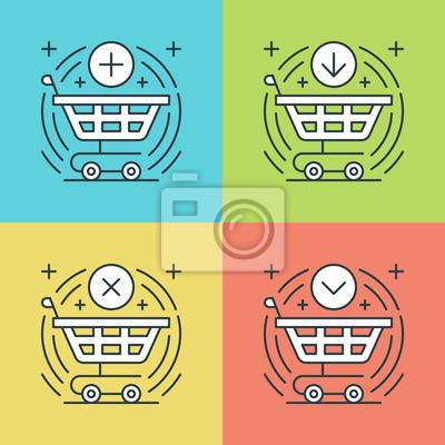 Płaskie ustawić ikony linii. Cienki liniowy skok wektora koszyk na zakupy, o zakupie, Kupię Button, symbole e-commerce.